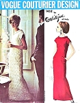 1960s ELEGANT Evening Dress Pattern VOGUE COUTURIER Design 1452 Galitzine Slim Gown V Shape Seaming Flattering Narrow Bias Roll Collar Bust 36 Vintage Couture Sewing Pattern