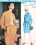 1960s CLASSY Federico Forquet Dress and Jacket With Tube Scarf Pattern VOGUE Couturier Design 1575 Features Seam Interest Bust 34 Vintage Sewing Pattern