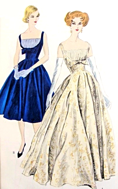 1950s Gorgeous Evening Gown Or Cocktail Dress Pattern