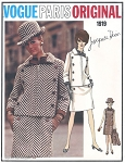 MOD 60s Couture Slim Dress and Jacket Pattern Designer JACQUES HEIM Vogue Paris Original 1919 Unique Button Details Classy Style Bust 34 Vintage Sewing Pattern