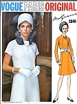1960s Dress Pattern VOGUE PARIS Original 2040 Molyneux Mod A Line Day or Evening Dress Button Tab Neck Bust 36 Vintage Sewing Pattern UNCUT