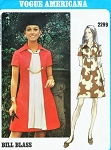 1970 Mod Dress Pattern Vogue Americana 2299 Bill Blass A Line Dress Bust 36 Vintage Sewing Pattern