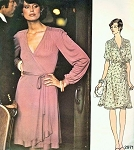1970s Disco Era Jean Muir Wrap Dress Pattern Vogue Couturier Design 2971 Vintage Sewing Pattern Day or Cocktail Evening Wrap Dress  Bust 32.5