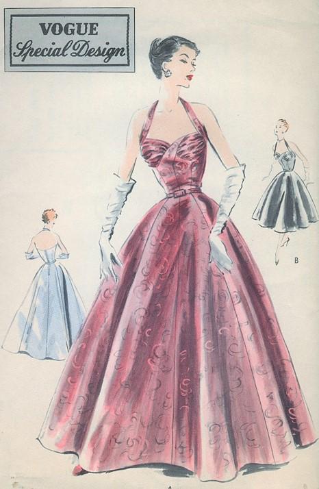 1950s Glamorous Evening Halter Gown Dress Pattern Vogue