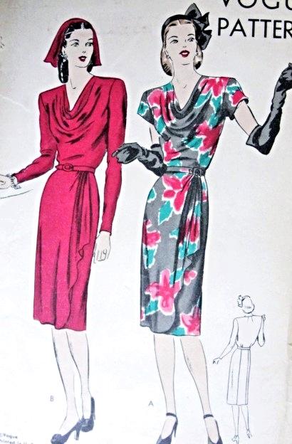 1940s Beautiful Slim Dress Pattern Draped Overskirt