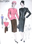 1940s Suit and Blouse Pattern Vogue 5617 Beautiful Fitted Jacket Shaped Neckline, Slim Skirt Two Hemline Styles, Surplice Blouse Day or Evening  Bust 34 Vintage Sewing Pattern FACTORY FOLDED