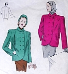 1940s FAB Boxy Double Breasted Jacket Pattern VOGUE 5959 Vintage Sewing Pattern Bust 30 Cutaway Front Classic Forties Style