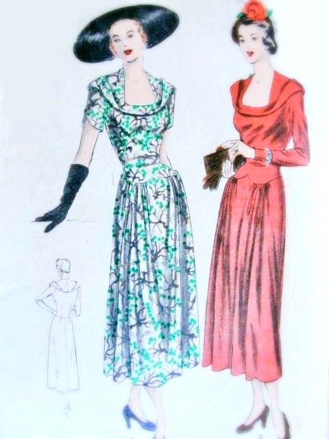 1940s Beautiful Dress Pattern Vogue 6396 Vintage Sewing