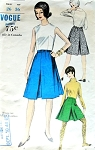 1960s Skirts Pattern Vogue 6407 Two Lengths Regular or Mini Inverted Center Front, Sides and Back Waist 26 Vintage Sewing Patterns