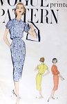 1950s Slim Dress Pattern Vogue 9451 Vintage Sewing Pattern Stylish Pencil Slim Skirt Dress Bloused Bodice Bust 32