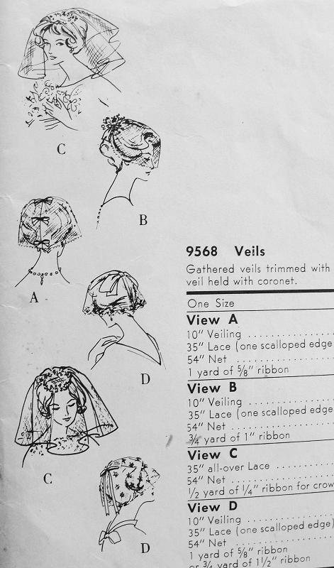 1950s Chic Veils Fascinators Hat Pattern Vogue 9568 Vintage Sewing ...