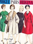 1960 ELEGANT Jacques Griffe Dress and Coat Pattern VOGUE Paris Original 1019 Classy Slim Skirt Jewel Neckline Dress and Stunning Full Wrap Coat With Cape Collar Bust 31 Vintage Sewing Pattern FACTORY FOLDED