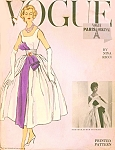 1950s Beautiful Nina Ricci Evening Gown Pattern Vogue Paris 1367 Full Skirt 2 Lengths Cocktail or Formal With Gored Petticoat Low Front Neckline Higher Back, Shirred Cummerbund over Sash Bust 34 Vintage Sewing Pattern + Label