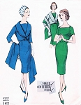 1950s STUNNING Slim Dress Shortie Jacket and Stole Pattern Vogue Couturier Design 165 Figure Flattering Day or After 5 Dress Bust 34 Vintage Sewing Pattern