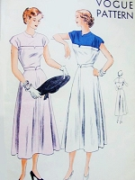 1940s BEAUTIFUL Day or After 5 Dress Pattern VOGUE 6379 Two lovely Versions Bust 36 Vintage Sewing Pattern