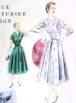 1950s Lovely Fifties Day or After 5 Dress Pattern Vogue Couturier Design 802 Flattering Open Neckline Soft Box Pleat Skirt Bust 32 or 34 Vintage Sewing Pattern
