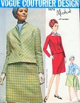1960s Michael Of London Suit  Blouse and Scarf Pattern Vogue Couturier Design 1674 Classy Style Day or After 5 Bust 34 Vintage Sewing Pattern