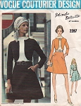 Late 60s Belinda Bellville Dress Pattern Vogue Couturier Design 2287 Semi Fitted  A Line dress With Mock Jacket Bust 32.5 Vintage Sewing Pattern