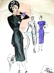 1940s GORGEOUS Film Noir Dress Pattern VOGUE COUTURIER DESIGN 326 Slim Dress with Cascade Drape Tunic Peplum Bust 36 Vintage Sewing Pattern