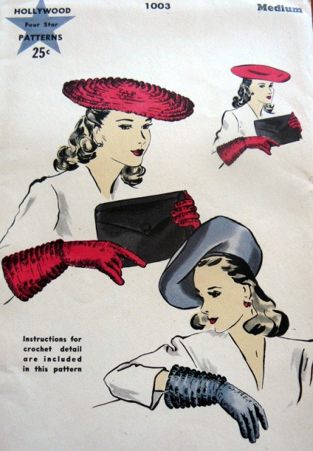 1940s Large Beret Hat Gloves Pattern Also Crochet Instructions For
