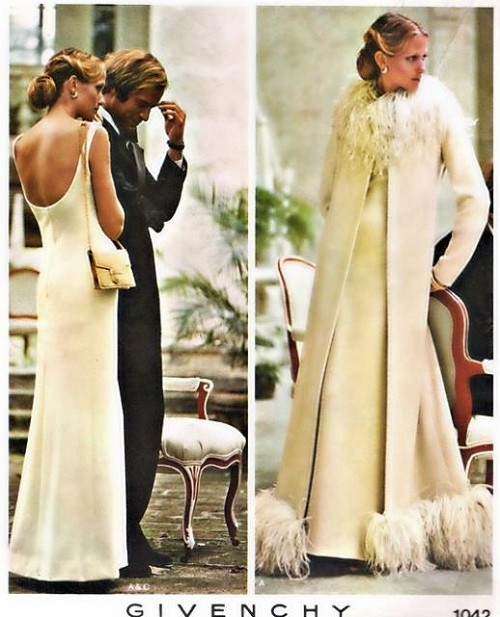 1970s Lovely GIVENCHY Evening Gown, Coat Pattern VOGUE PARIS Original 1042 Low Neckline and Back Bust 32 Vintage Sewing Pattern