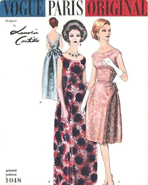 51e474035f1 60s ELEGANT Lanvin Evening Gown Cocktail Dress Pattern VOGUE ...