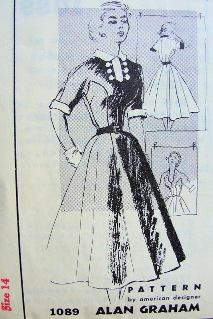 1950s Spadea American Designer Dress Pattern 1089  Alan Graham Flattering Seam Shaped Bodice Full Multi Gore Skirt,Cuffs Collar and Dickey Detachable For Low Neckline