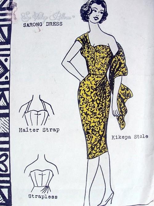 RARE 60s Vintage Polynesian Pattern 108 Hawaiian Sizzling Sarong ...