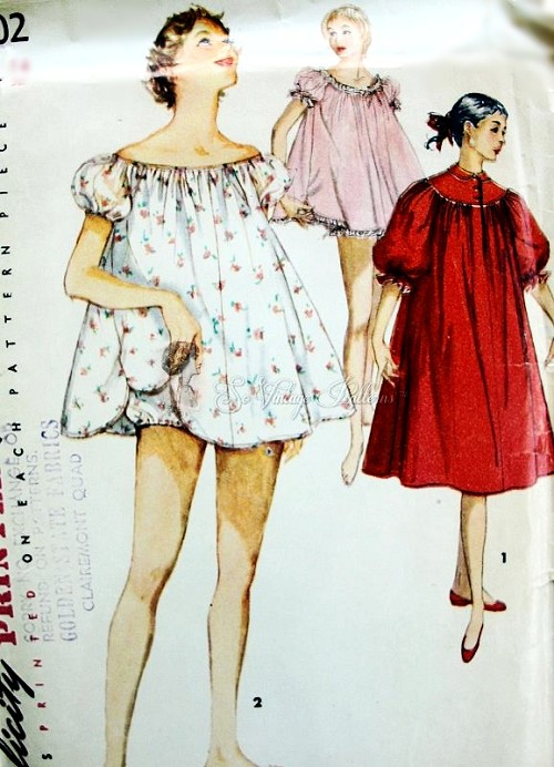 1950s PIN UP Style Baby Doll Shortie Night Gown With Panties and ...