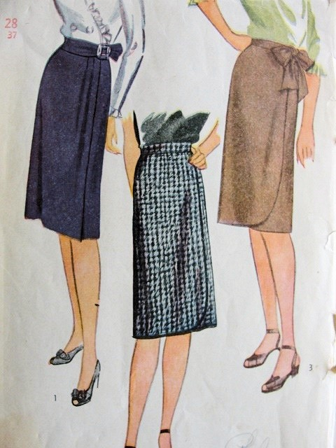 1940s WRAP AROUND SLIM SKIRT PATTERN 3 GREAT STYLES SIMPLICITY 1153 ...