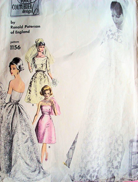 1960s Ronald Paterson Gorgeous Wedding Gown Bridal Dress Pattern ...