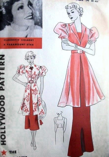 1930s Art Deco Evening Gown And Tunic Coat Pattern Hollywood 1160