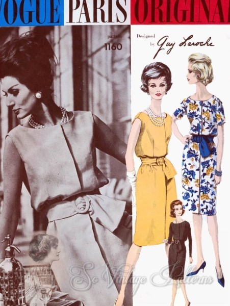 CLASSY 60s VOGUE Paris Original 1160 Guy Laroche Lovely Slim Dress Beautiful Style Bust 32 Vintage Couture Sewing Pattern + Sew In Label