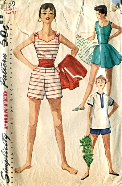 1950s Beach Wear Swim Suit Pattern Playsuit, Short Full Skirt and ...