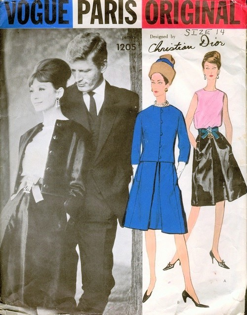 CLASSY 1960s Vogue Paris Original 1205 DIOR Evening Cocktail Suit and Blouse Pattern Classy Audrey Hepburn Style Day or Party Bust 32 Vintage Sewing Pattern