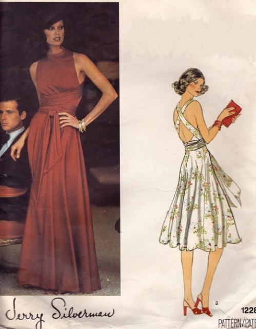 1970s DRAMATIC Strappy Criss Cross Wrap n Tie Evening Dress Pattern ...