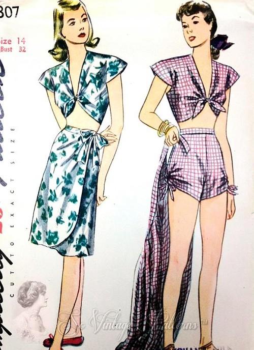 1940s PINUP Beachwear Swimsuit Playsuit and Sarong Wrap Skirt ...