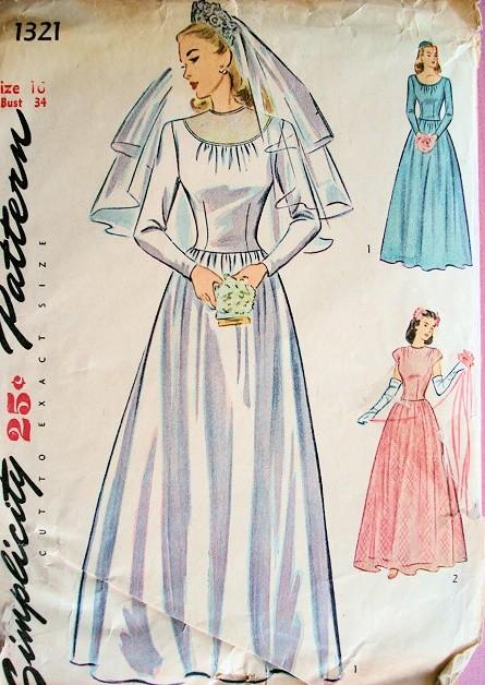 1940s Wedding Gown Bridal Dress Pattern Simplicity 1321 War Time War ...