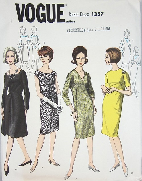 1960s CLASSIC Dress in Four Variations Vogue 1357 Vintage Sewing ...