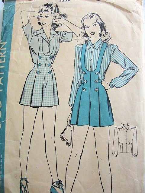 1940s PIN UP Shorts and Blouse Pattern HOLLYWOOD 1358 Pleated Bib Top and Suspenders Playsuit Shorts, Long or Short Sleeve Blouse, Bust 30 Vintage Sewing Pattern