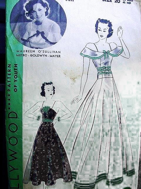 1930s LOVELY EVENING GOWN PATTERN MAUREEN O'SULLIVAN HOLLYWOOD MOVIE STAR PATTERN 1411