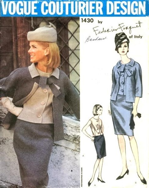 1960s VOGUE Couturier design Pattern 1430 Classy 3 Pc Slim Skirt Suit Lovely Jacket OverBlouse Pencil Skirt Bust 36 Vintage Couture Sewing Pattern
