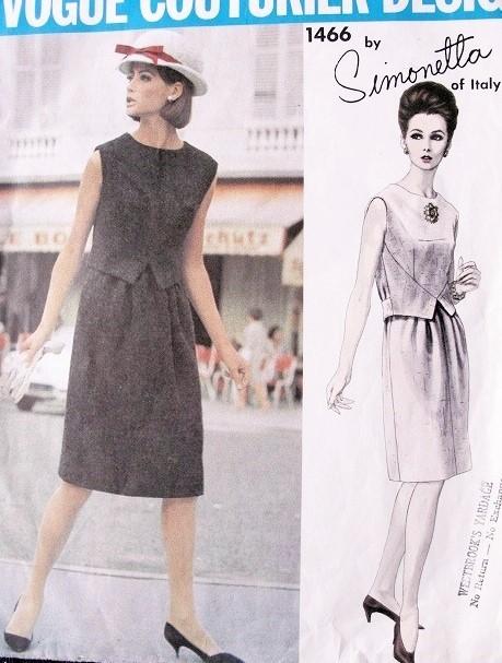 1960s SIMONETTA Dress Pattern Vogue Couturier Design 1466 Vintage ...