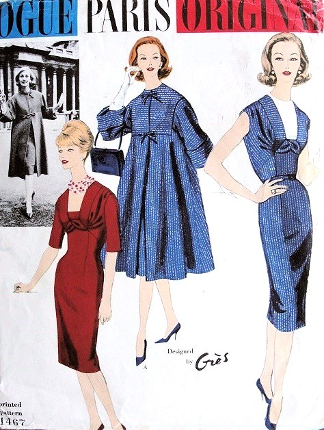 1950s BEAUTIFUL Gres Slim Day or Evening Dress and Empire Full Coat Pattern VOGUE PARIS ORIGINAL 1467 Stunning Designs Bust  36 Vintage Sewing Pattern FACTORY FOLDED