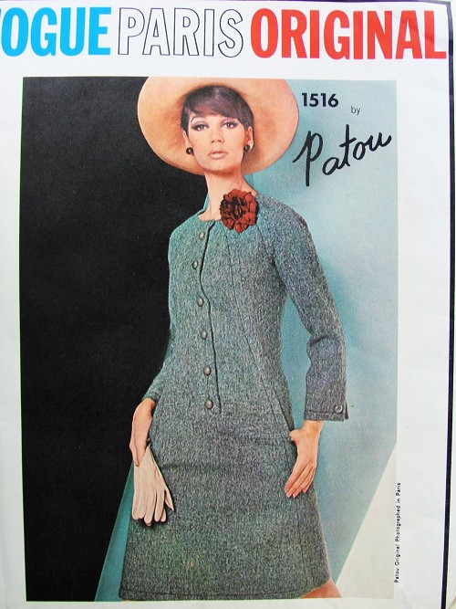 RARE 1960s PATOU Fabulous Dress Pattern VOGUE PARIS Original 1516 Lovely Seam Interest Daytime or Cocktail Dress Bust 34 Vintage Sewing Pattern
