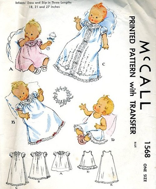 1950s BEAUTIFUL Infants Baby Dress and Slip Pattern McCALL 1568 Three Lengths Adorable Styles, Includes Embroidery Transfer Vintage Childrens Sewing Pattern