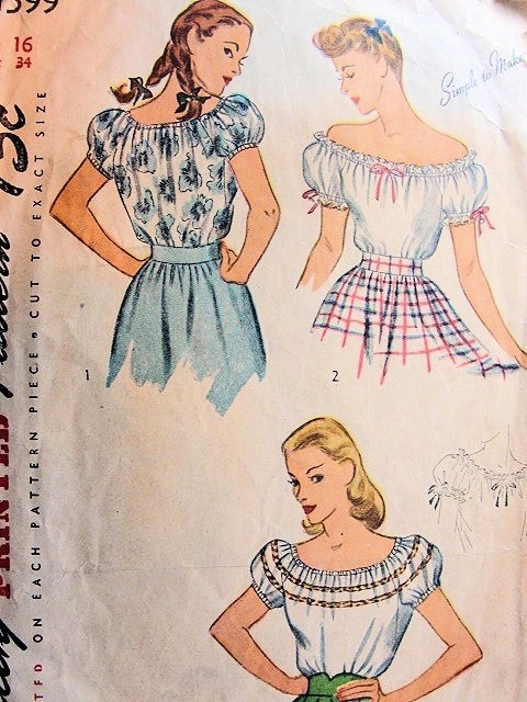 1940s Blouse Pattern Simplicity 1599 Pin Up Style Off The Shoulders ...