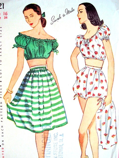 1940s Beach Wear Pattern Simplicity 1621 Play Suit Shorts, Midriff ...