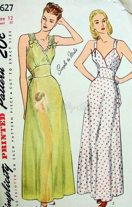 1940s PIN UP Style Nightgowns Lingerie Pattern SIMPLICITY 1627 Glam ...