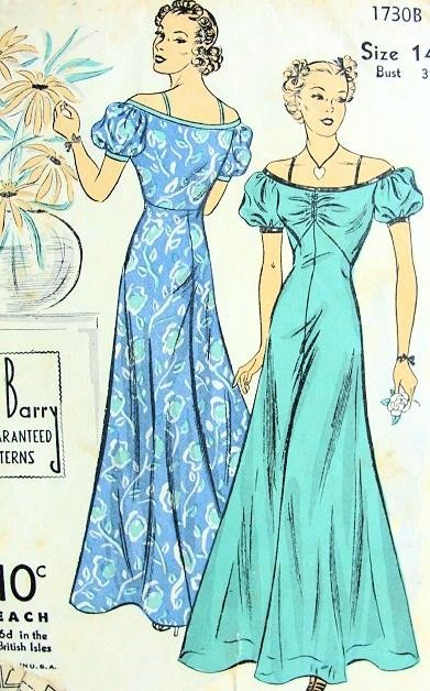 1930s LOVELY EVENING DRESS PATTERN FLATTERING OFF THE SHOULDER NECKLINE, SHORT PUFFED SLEEVES, CIRCULAR BIAS SKIRT DUBARRY PATTERNS 1730